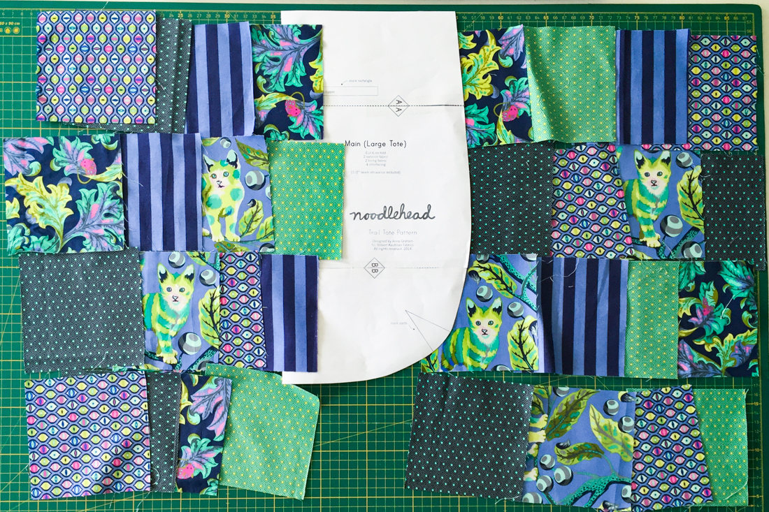Patchwork-Trail-Tote Bag Stoffquadrate