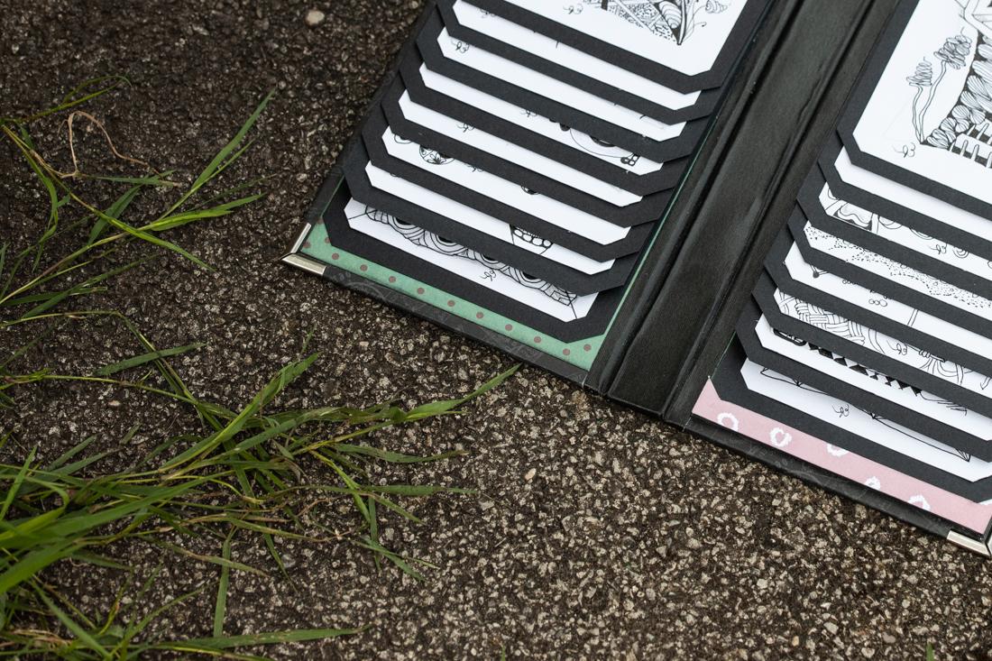 Scrapbookalbum mit Wasserfallmechanismus