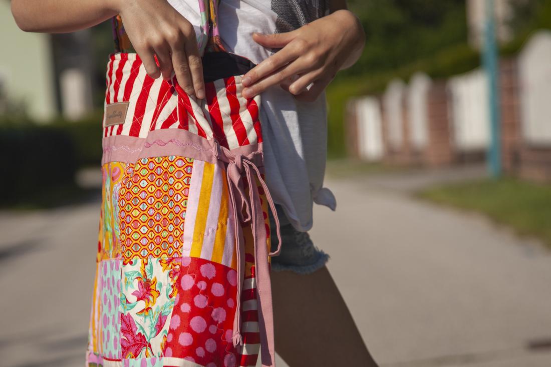 Patchwork-Tasche/Tote Bag zum Nächnähen - seitenbändchen festnähen